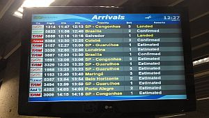 Anzeigetafel im Flughafen von Rio